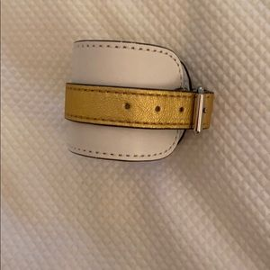 White and Gold with silver hardware leather cuff
